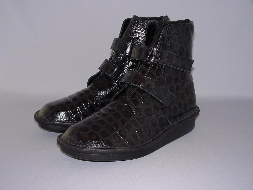 健康靴えこるBL533 型押しクロコベルトタイプブーツ ブラック(男性用)